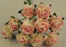 1.5cm BABY PINK Mulberry Paper Roses